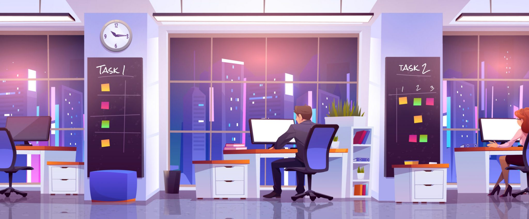 Office workers at workplace at night time. Business people man and woman rear view sitting at desks work on computers front of wide floor-to-ceiling windows with cityview, Cartoon vector illustration